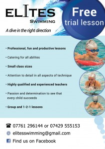 Elites Swimming essex, flier design example